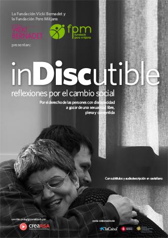 Cartel donde se ven dos personas con discapacidad afectuosamente abrazadas